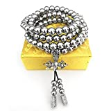Nireus Jewelry Stainless Steel 108 Prayer Buddism Mala Buddha Beads Necklace Chain (Full Stainless Steel)
