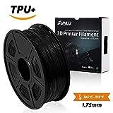 SUNLU 3D Printer Filament Flexible 1.75mm TPU 1.75 Filament -Black 1kg Spool (2.2 lbs) - Dimensional Accuracy +/- 0.02mm - 100% Virgin Raw Material,Flexible,Noir