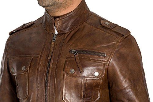 Jacket Zip Anteriore Cuoio Dettagliate Tasche Uomo Stud Del Marrone x70nqF