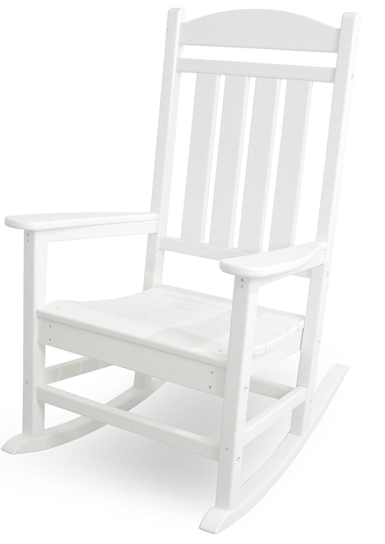 CASA BRUNO Classic Presidential Schaukelstuhl aus recyceltem Polywood® HDPE Kunststoff, weiss - kompromisslos wetterfest