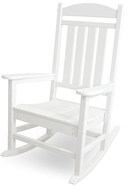 Attirant POLYWOOD R100WH Presidential Outdoor Rocking Chair, White