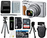 Canon PowerShot SX740 HS Digital Camera (Silver) with 20MP, 4K HD Video, 40x Optical + 40x Digital Zoom, Wi-Fi, Bluetooth and 3.0″ Tilt LCD + 32GB Card + Reader + Case + Tripod + Accessories Bundle