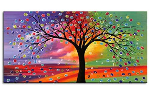 - Oversized Canvas Wall Art Print with 1 1/5 Inch Thickness Frame Ready to Hang - Sunset Blossom Tree Colorful Clouds Sky Abstract Painting Contemporary Picture for Living Room Bedroom Decoration
