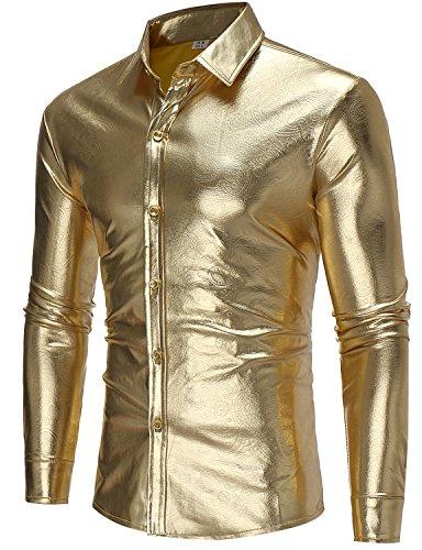 ZEROYAA Mens Nightclub Hipster Metallic Silver Slim Fit Long Sleeve Casual Button Down Dress Shirts