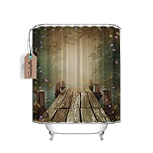 Custom Fairy Tale Wooden Floating Dock Fabric Shower Curtain 60x72-Inch (Ring Included) ,Home Decor Art PrintsImaginary World Lilac Purple Yellow Pink Roses Whimsical Romantic Teal Design