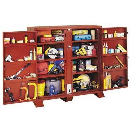 "Rain Drain""¢ Jobsite Storage Cabinet/Tool Box, 60-3/4""H, 60-1/8""W, 24-1/4""D, Brown"