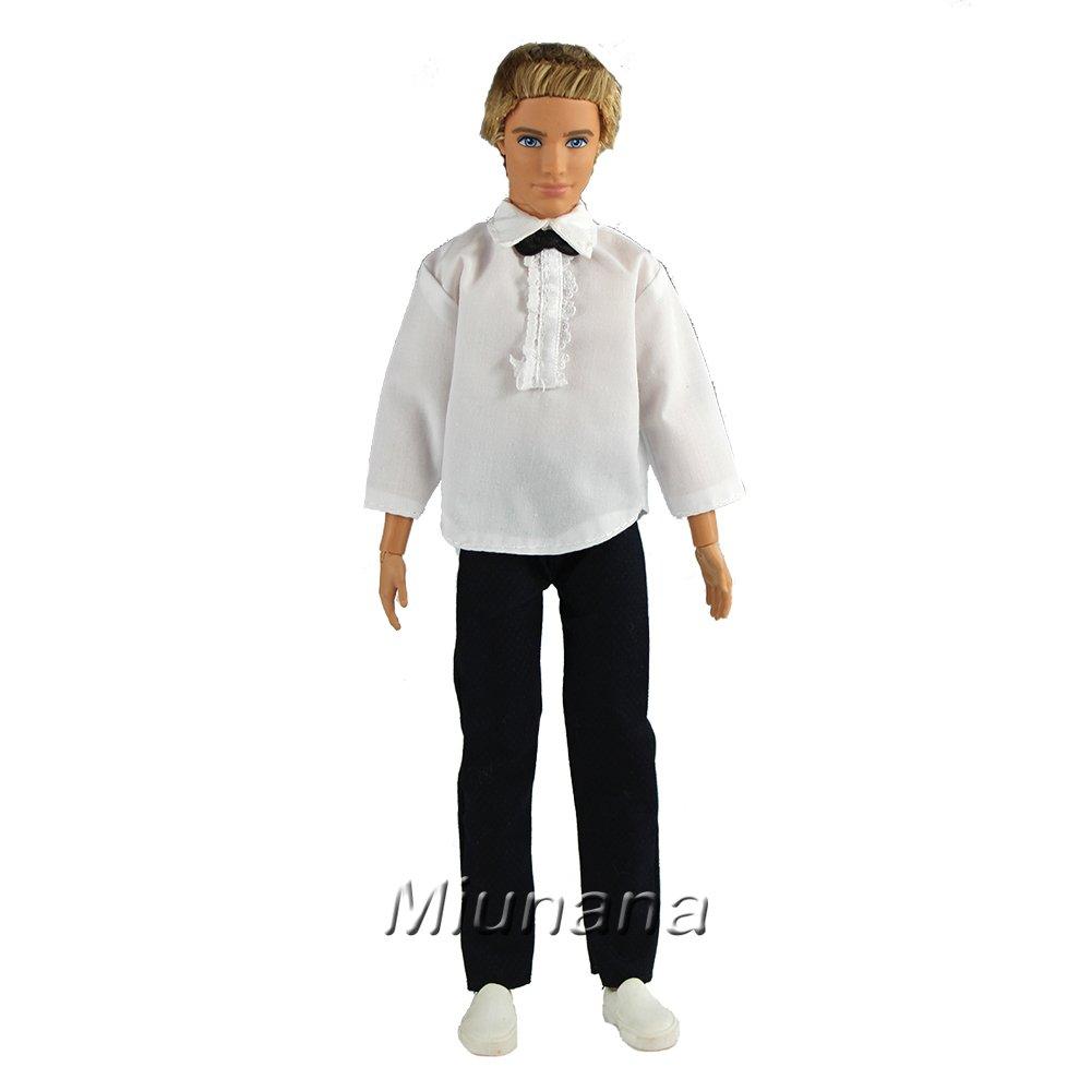 35ecb72d1f17a0 Miunana Set 3 Stück Hochzeits Formales Anzug Hemd Hose Kleid Kleidung  Kleider für Barbie Puppen KEN Prinzessin  Amazon.de  Spielzeug