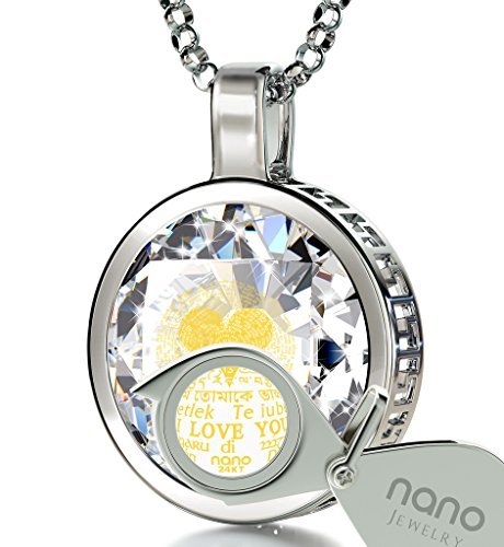 925 Sterling Silver I Love You Necklace 120 Languages 24k Inscribed White Cubic Zirconia Pendant, 18'' by Nano Jewelry