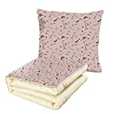 iPrint Quilt Dual-Use Pillow Paris French Flag Coffee Croissant Fashion Shoes Wine Hearts Perfume Popular Icons Clouds Design Decorative Multifunctional Air-Conditioning Quilt Rose