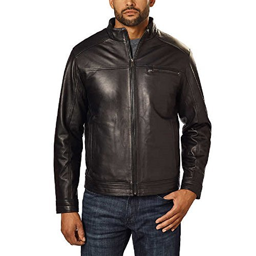 Boston Harbour Men's Genuine New Zealand Lambskin Leather Jacket (Black, Large) - New Zealand Lamb Jacket