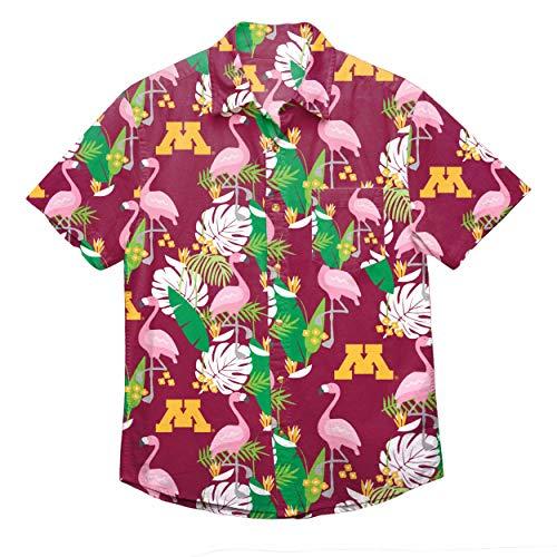NCAA Minnesota Golden Gophers Foco Floral Button Up Shirt, Team Color, XXXL