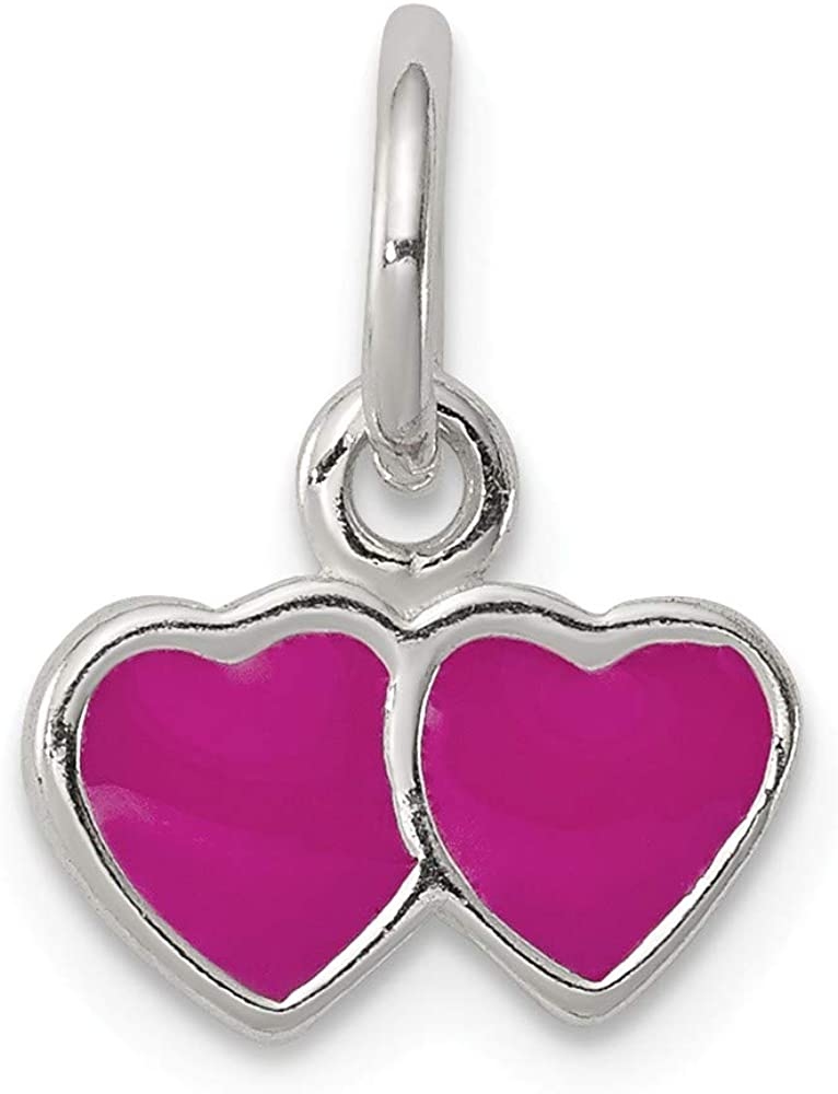 925 Sterling Silver Pink Enameled Double Heart Charm and Pendant