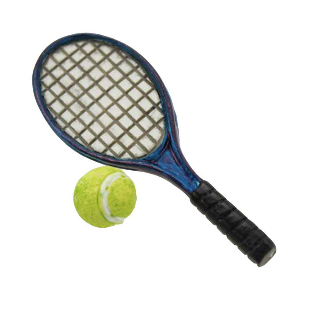Teydhao Mini Simulation Tennis Racket Models 1:6 1:12 Doll Accessories for Doll Pretend Play Birthday Gift Toys for Kids Girls Boys Toddlers for 1//12 scale Blue