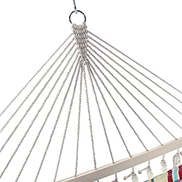 Kuyal Hammock Double Person Swing Double Beds for Outdoor and Indoor Use Stylish Printing Style Beige Two Person Bed Beige