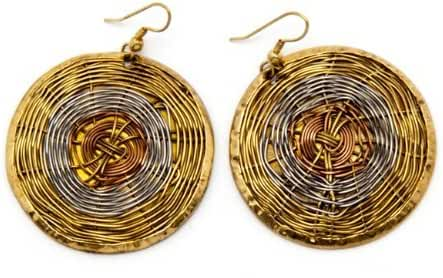 Sitara Collections SC1311 Wire Web Earrings, Copper and Brass