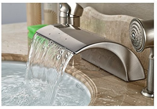 Gowe Luxury Nickel Brushed Bathroom Deck Mounted Waterfall Basin Faucet Sink Mixer Tap With Hand Shower 4