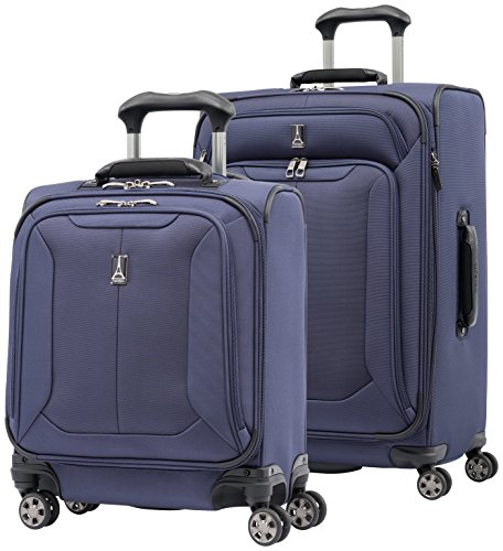 Travelpro Skypro Lite 2-Piece Expandable 8-Wheel Luggage Spinner Set: 25'' and 17'' Carry On Under Seat Bag (Navy) by Travelpro