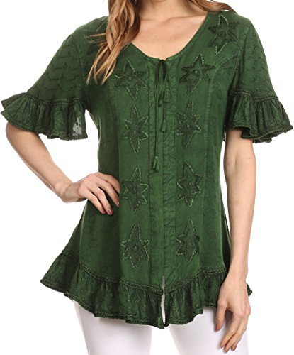 Custom Embroidered Denim Shirt (Sakkas 1663 - Sayle Long Star Embroidered Blouse Shirt Top With Button Front And Ruffles - Green - S/M)