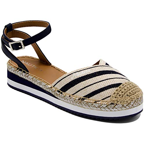 Nautica Classic Socks - Nautica Women's Nadana Espadrille Platforms Sandals Closed Toe Ankle Strap Summer Shoes-Navy Stripe-8