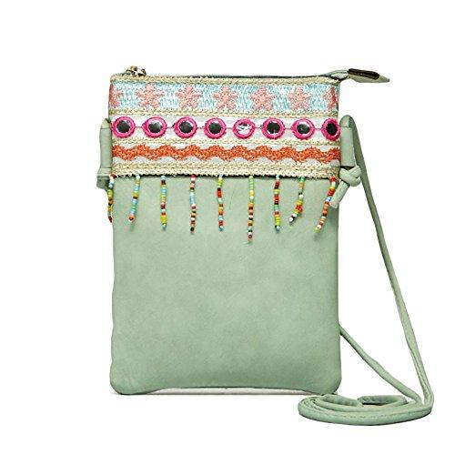(Cute Shoulder Bag Mint Green Vegan Faux Leather Hippie Bohemian Clutch Purse Zipper Strap)