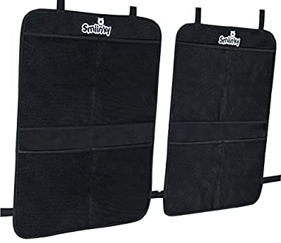 Kick Mats plus 2 Extra Large Organizer Pockets - Deluxe Backseat Protector As Seat Covers For Car, SUV, Minivan or Truck - Vehicle Back Seats Kids Safety Accessories - Universal Automotive Protectors