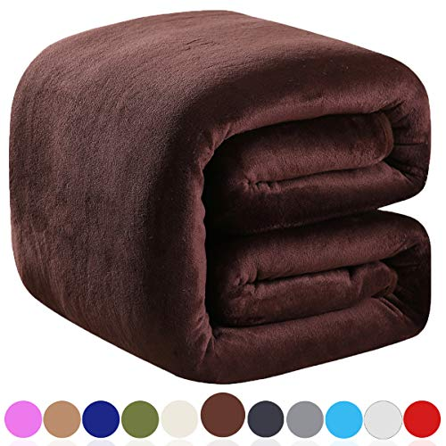 Richave Polar Fleece Throw Blankets Travel Size Brown for The Bed Extra Soft Brush Fabric Super Warm Sofa Throw Blanket 50