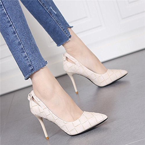 MDRW Lady Grain Shoes 36 Shoes Fashion Sexy Women'S High Elegant Shoes Hollowed Single Sharp Spring Leisure Mouth Shallow Heel Work Out 9Cm Head AArB8nwU