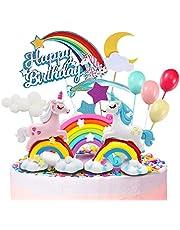 Humairc Eenhoorn regenboog taartdecoratie Happy Birthday taarttopper luchtballon sterren cake-topper taartopzetstukken voor meisjes verjaardag