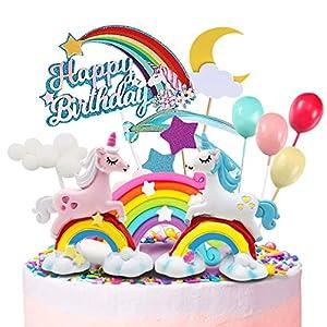 Humairc Licorne Gâteau Décoration Arc En Ciel Licorne Joyeux Anniversaire Cake Topper Happy Birthday Nuage Ballons Lune…