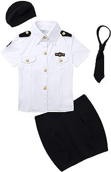 iiniim Disfraz de Policía Mujer Adulta Camisa Manga Corta Falda de Lápiz Gorra y Corbata Sexy Uniforme Policía Bodycon de Cosplay Halloween Carnaval Blanco&Negro Small: Amazon.es: Ropa y accesorios