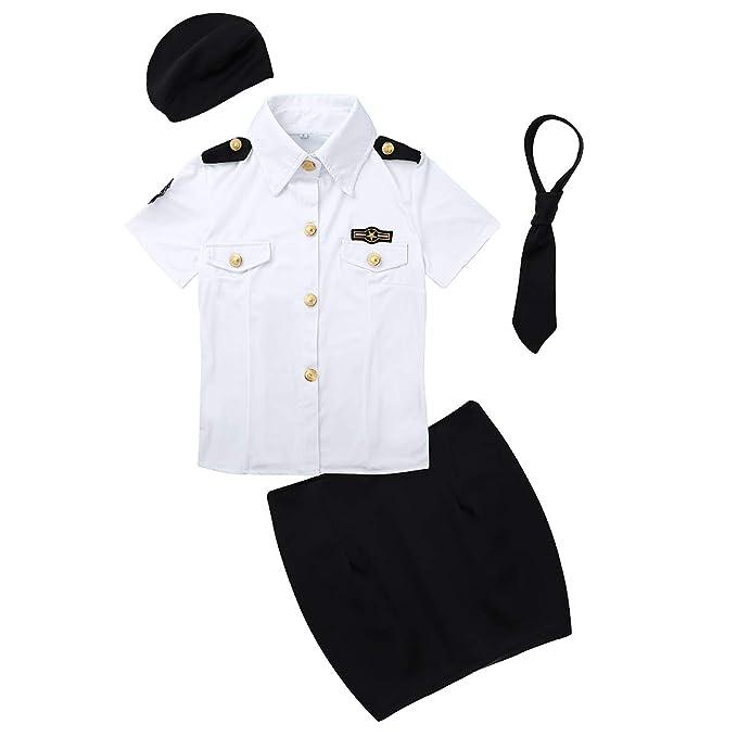 Agoky - Disfraz de policía para Mujer con Falda y Corbata Blanco Y ...