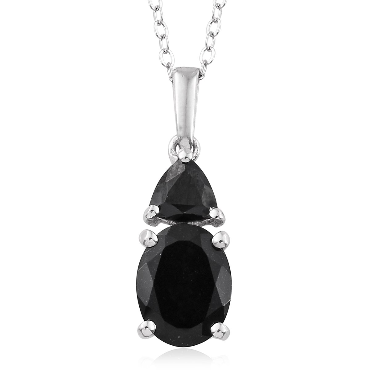 Black Tourmaline Black Spinel Platinum Plated Silver Pendant With Chain For Women 2.1 cttw Size 20''