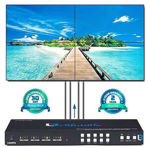 (Brightlink Digital ProAV Series 2x2 Video Wall Controller HD 1080P | 4 Picture Multiviewer Display | USB/VGA/Composite/HDMI Input | 1x2, 1x3, 1x4 Menu Board Digital Displays )