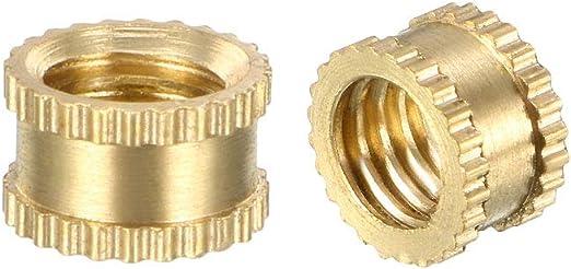 M5 x 4mm L x 6.5mm OD Female Thread Brass Embedment Nuts uxcell Knurled Threaded Insert Pack of 80