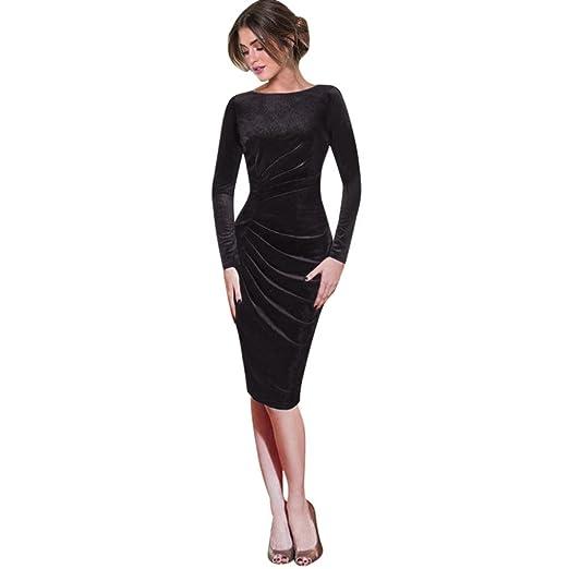 31e80a215ad4 Minisoya Elegant Women Long Sleeve Velvet Dress Ruched Draped Slim Work  Office Cocktail Party Sheath Pencil