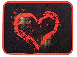 Big Red Love Heart on Black Background with Red Outline Car Truck SUV Universal-fit Front & Rear Seat Carpet Floor Mats - 4PC
