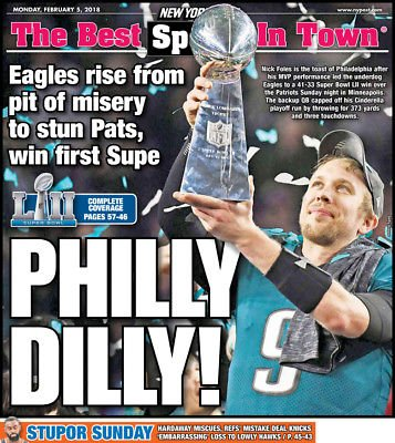 Philadelphia Eagles Super Bowl Champs- New York Post Newspaper 2/5/2018 (Eagles Memory Philadelphia)