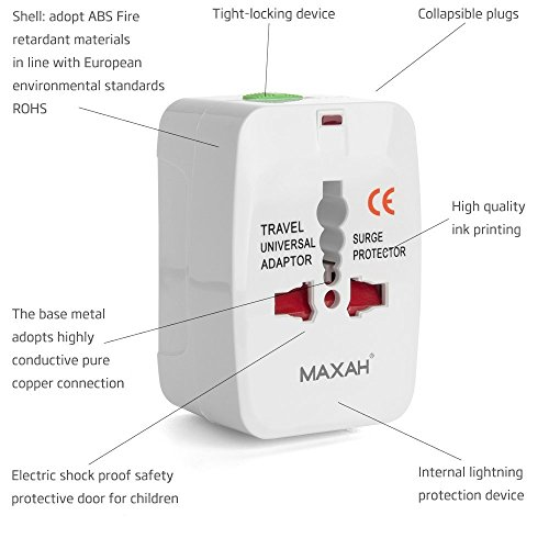 Maxah MX-UC1 Surge Protector All in One Universal Travel Wall Charger AC Power AU UK US EU Plug Adapter