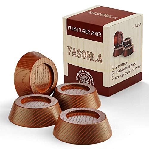 FASONLA Furniture Risers, Solid Natural Wood Risers for 4 Bed Risers, Furniture Risers, Table Risers, Sofa Risers, Chair Risers - Add Height with Non-Slip Recessed Hole to Heavy Furniture (Wood, 0.8