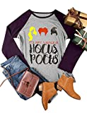Nlife Women Hocus Pocus Letter Print Shirt Round Neck Long Sleeve Casual Style Blouse Tops