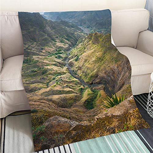 BEICICI Super Soft Flannel Thicken Blanket Breathtaking View from Delgadinho Mountain Ridge Santo Antao Cape Verde Sofa Bed or Bed 3D Printing Cool Quilt ()