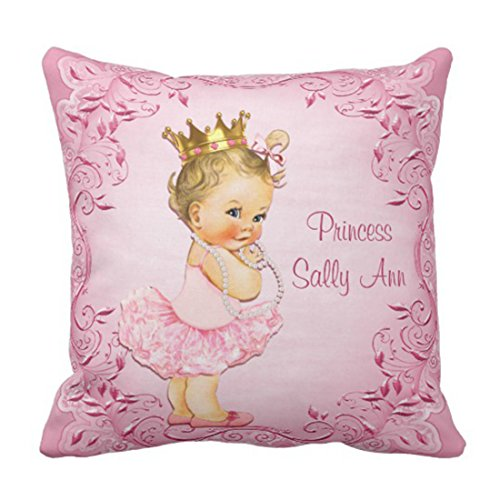 Emvency Throw Pillow Cover Cute Baby Personalized Princess Ballerina Pink Vintage Girl Decorative Pillow Case Home Decor Square 16 x 16 Inch Pillowcase