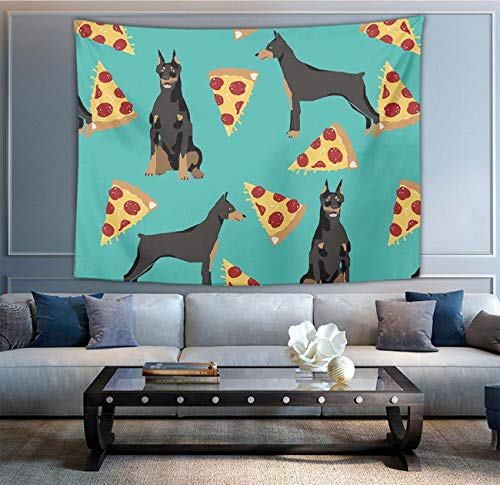 Doberman Pinscher Tapestry - NiYoung Wall Hanging Queen Tapestry, Boho Hippie Hippy Bedding Tapestry, Indian Wall Decoration, Doberman Pinscher Turquoise Pizza, Living Room Hippie Tapestries