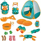 FUN LITTLE TOYS Kids Play Tent, Pop Up Tent with Kids Camping Gear Set, Outdoor Toys Camping Tools Set for Kids, 18 Pieces