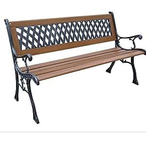 DC America SLP408-BRMP Mesh Resin Park Bench, Cast Iron Legs, Rust Free Resin Back, and Hardwood Slats, Rust Resistant Bronze Finish