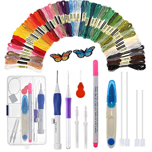 Magic Embroidery Pen - Embroidery Stitching Punch Needles Craft Tool Set Including 50 Color Threads for DIY Sewing Cross Stitching and Knitting Sewing Tool
