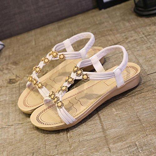 Yiiquan Mujer Sandalias Bohemia Con Cuentas Zapatillas T-Strap Sandalias De Playa Estilo2 Beige