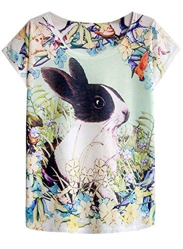 futurino Women's Bunny Blooding Eggs Print Short Sleeve Tops Casual Tee (M, Dutch Rabbit)