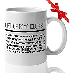 Counselor Ceramic Coffee Mug 11Oz - Funny Gifts for Guidance Counselors Mental Therapist - Freud Freudian Psychology Mugs - School Psychologist Psychiatrist Cup - Life of a Psychologist