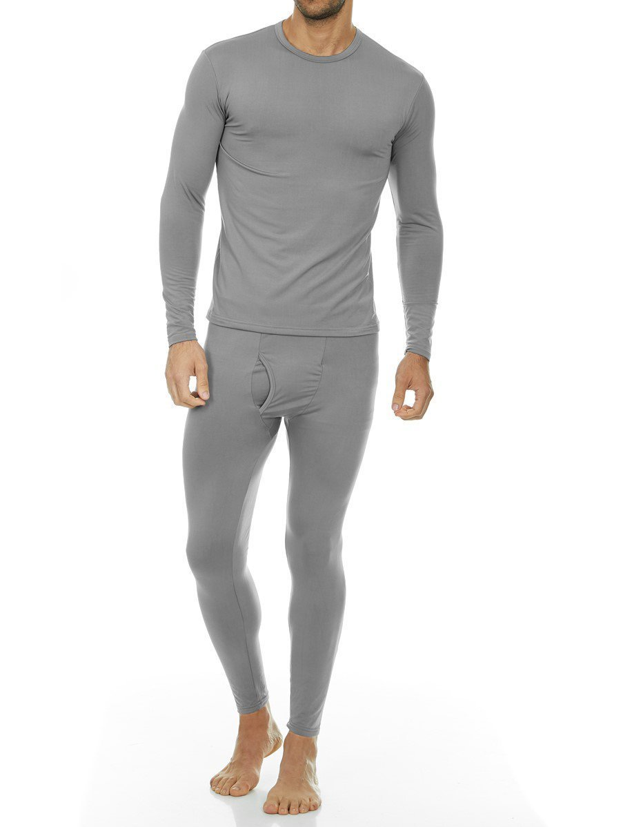 Thermajohn Men's Ultra Soft Thermal Underwear Long Johns Set with Fleece Lined (Small, Grey)